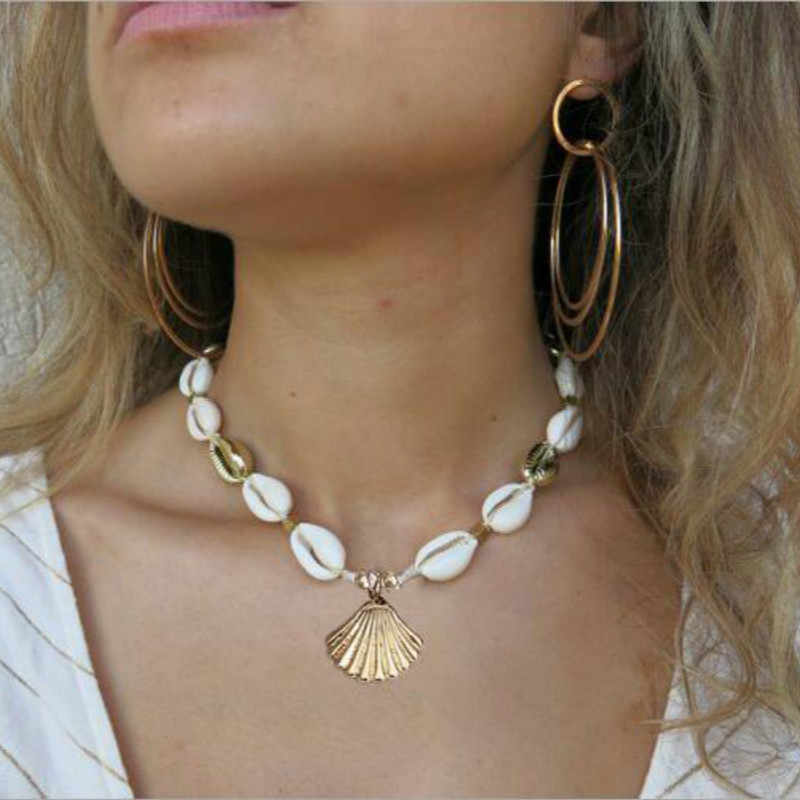 Gold Silver Color Sea Shell Choker Necklace Handmade Adjustable Friendship Necklace Bohemia for Women Summer Jewelry
