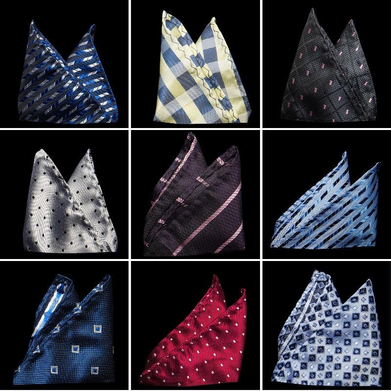 Vintage Fashion Party Men's Handkerchief Star Silver Point Groomsmen Men Pocket Square Hanky 22*22cm