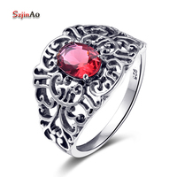 Szjinao Heart Flower 1ct Red Ruby Rings for Women Punk Vintage Style 925 Sterling Silver Jewelry Fashion Gifts Wholesale
