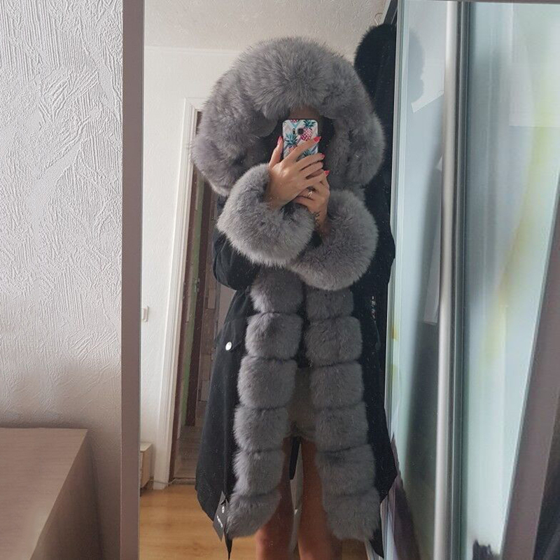 OFTBUY X-long Parka Waterproof Outerwear Real Fur Coat Winter Jacket Women Natural Fox Fur Hood Luxury Outerwear Detachable New
