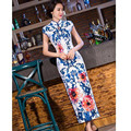 Hot New White Blue Fashion Women's Long Cheongsam Short Sleeve Printing Qipao Dress Flower Free Shipping S M L XL XXL