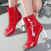 NAYIDUYUN Women Sexy Leopard Pumps Patent Leather Sandals Open Toe High Heels Transparent Night Club Party Court Shoes