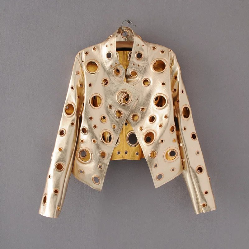 2018 Fashion Hollow Out Women Short Pu Bomber Jacket Slim Punk Rock Biker Eyelet Motorcycle Pu Leather Jackets Rivet Coat Female