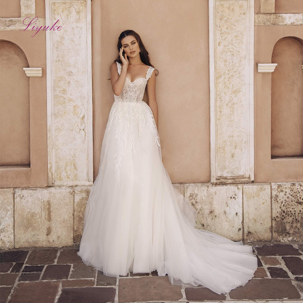 Liyuke A Line Married Wedding Dress 2019 Lace Up Appliques Detachable Shoulder Straps Customer Made Size Free Shipping