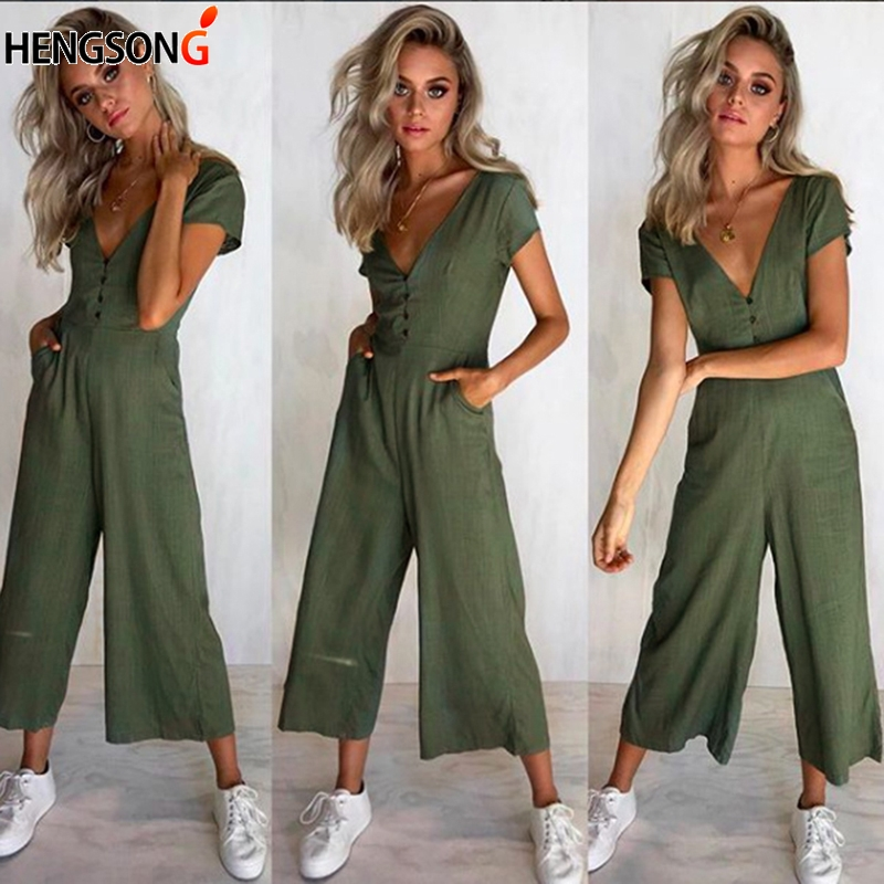 Wide Leg Pants Casual Button Female Long Jumpsuit 2018 Short Sleeve Summer Romper Sexy V Neck Women Jumpsuit With Pockets
