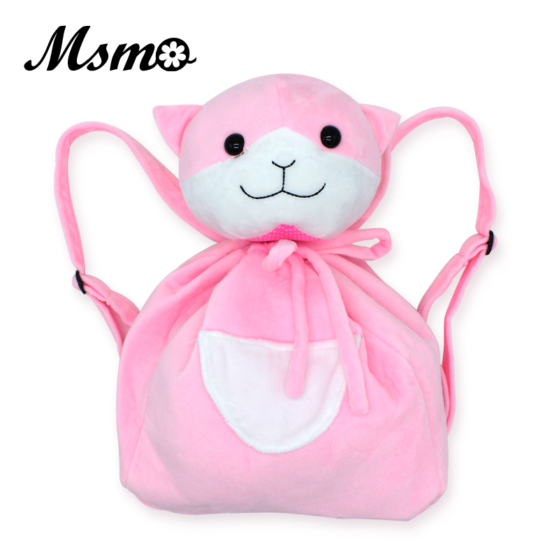 MSMO New Nanami Chiaki Cat Backpack Danganronpa Dangan Ronpa Pink Animal Back Pack School Shoulder Bag Plush Bag Girls Boys