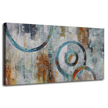 Hand Painted Circle Blocks Grey Brown Painting Picture One Panel Large Size Modern Artwork Unframed Ready to Hang for Home