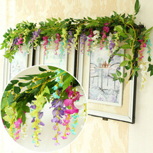 110cm Long Wisteria Vine Rattan Flowers for Wedding Arch Party Decoration White Artificial Flores Garland Wreath