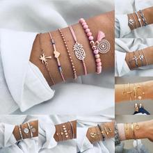 купить HOCOLE 21 Style Bohemian Bracelets For Women Crystal Bead Moon Heart Multilayer Charm Link Bracelet Female Fashion Party Jewelry дешево