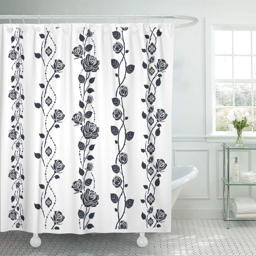 Shower Curtain Floral Rose Tattoo Border Pattern Black Silhouette White Stencil Abstract Brush Bud Bathroom