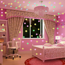 100pcs 3D Luminous Stars Toy Sticker Fluorescent PVC Wall Stickers for Kids Room Refrigerator Home Light Switch Ceiling
