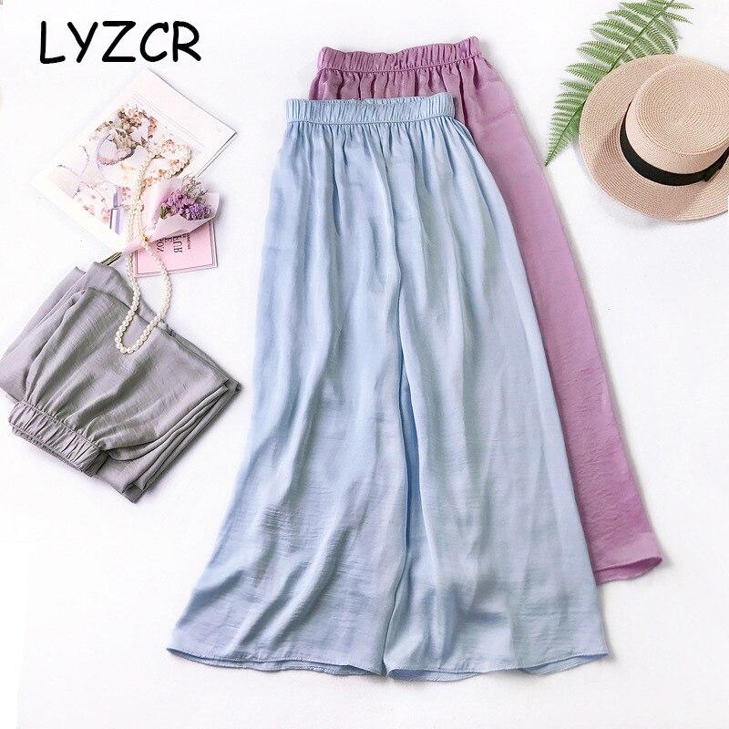 Lyzcr Summer Loose Silk Women   Pants     Wide     Leg   High Waist Stain   Wide     Leg     Pants   For Women Ankle   Pants   Female Elastic Waist Trousers