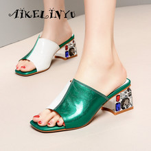 AIKELINYU 2019 Brand Slippers Women Casual Shoe Slip on Slides Womens Heeled Mules Square Toe Low Heel Shoes Wedges Sandals lady convertible strap low heeled mules