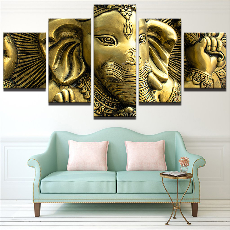 Canvas Wall Art Pictures Home Decor Living Room HD Printed 5 Piece India  Elephant Head God Ganesh Painting Modular Poster PENGDA