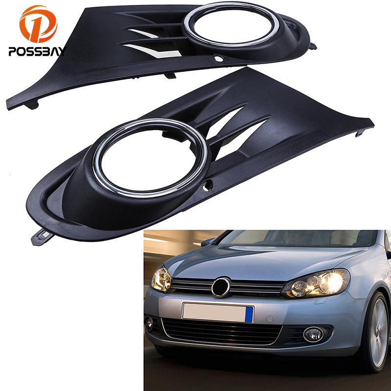 POSSBAY 1 pair Automobiles Car Front Bumper Lower Grille Fog Light Grills Cover Decoration for VW Golf MK6 2010/2011/2012-2014