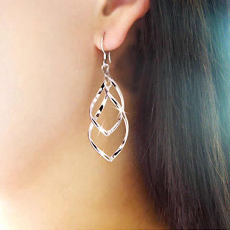 Long Earrings Women Gold Color Silver Leaves Tassel Drop Earring Multilayer Hollow Metal Charm Dangle Eardrop Fashion Jewelry