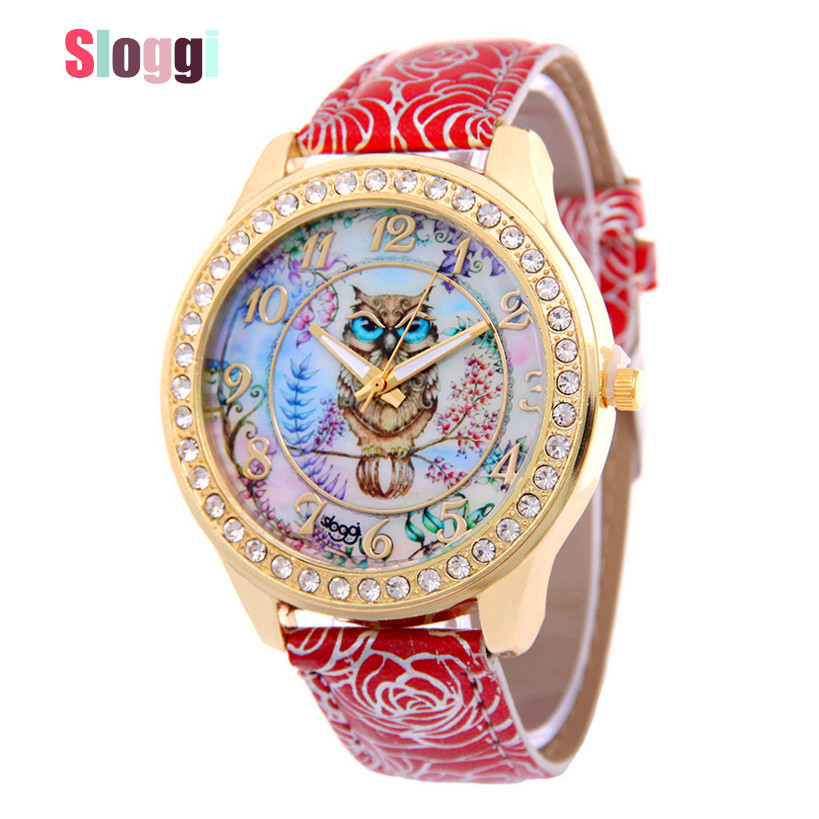 Sloggi Brand owl Leather Strap Wrist Watches Fashion Ladies Rhinestone Quartz Watch Women dress Watches  femme Casual watch 2017 scomas i7 mini bluetooth earbud wireless invisible headphones headset with mic stereo bluetooth earphone for iphone android