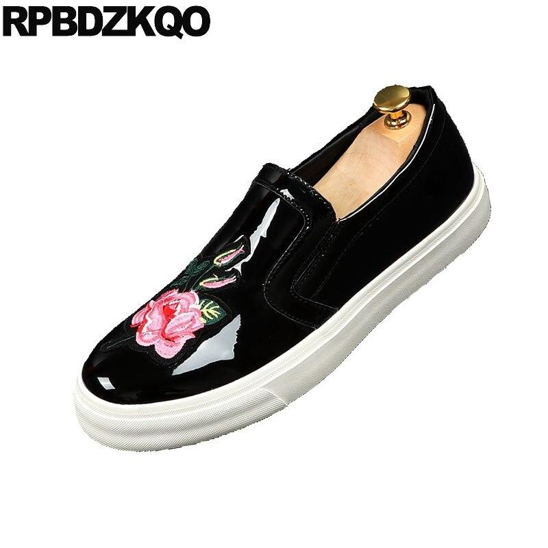 Slip Ascenseur Mode Broderie De Mens Brodé black Noir Formateurs Cuir En Elevator Noir On Sneakers Chaussures Skate Floral Creepers Verni Casual EwWqE5F8