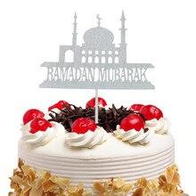 이드 무바라크 케이크 토퍼 플래그 반짝이 아이 생일 축하 컵 케이크 토퍼 웨딩 베이비 샤워 파티 라마단 이슬람 베이킹 DIY