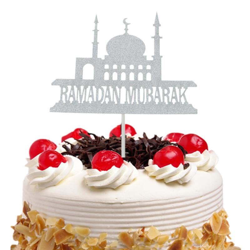 Eid Mubarak Cake Toppers Flags Glitter Kids Happy Birthday  Cupcake Topper Wedding Baby Shower Party Ramadan Muslim Baking DIYCake  Decorating Supplies