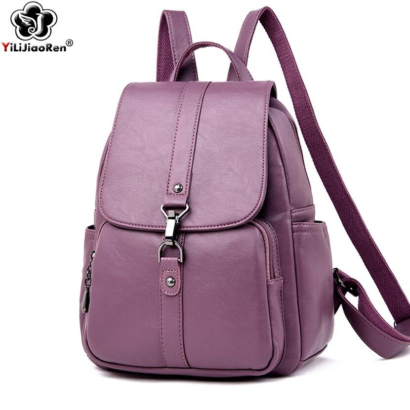 Роскошный брендовый кожаный женский рюкзак, повседневный рюкзак с защитой от кражи, Женский Большой Вместительный рюкзак, сумки через плеч