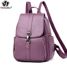 Luxury Brand Leather Female Backpack Casual Anti-theft Lock Backpack Women Large Capacity Bookbag Shoulder Bags for Women 2019