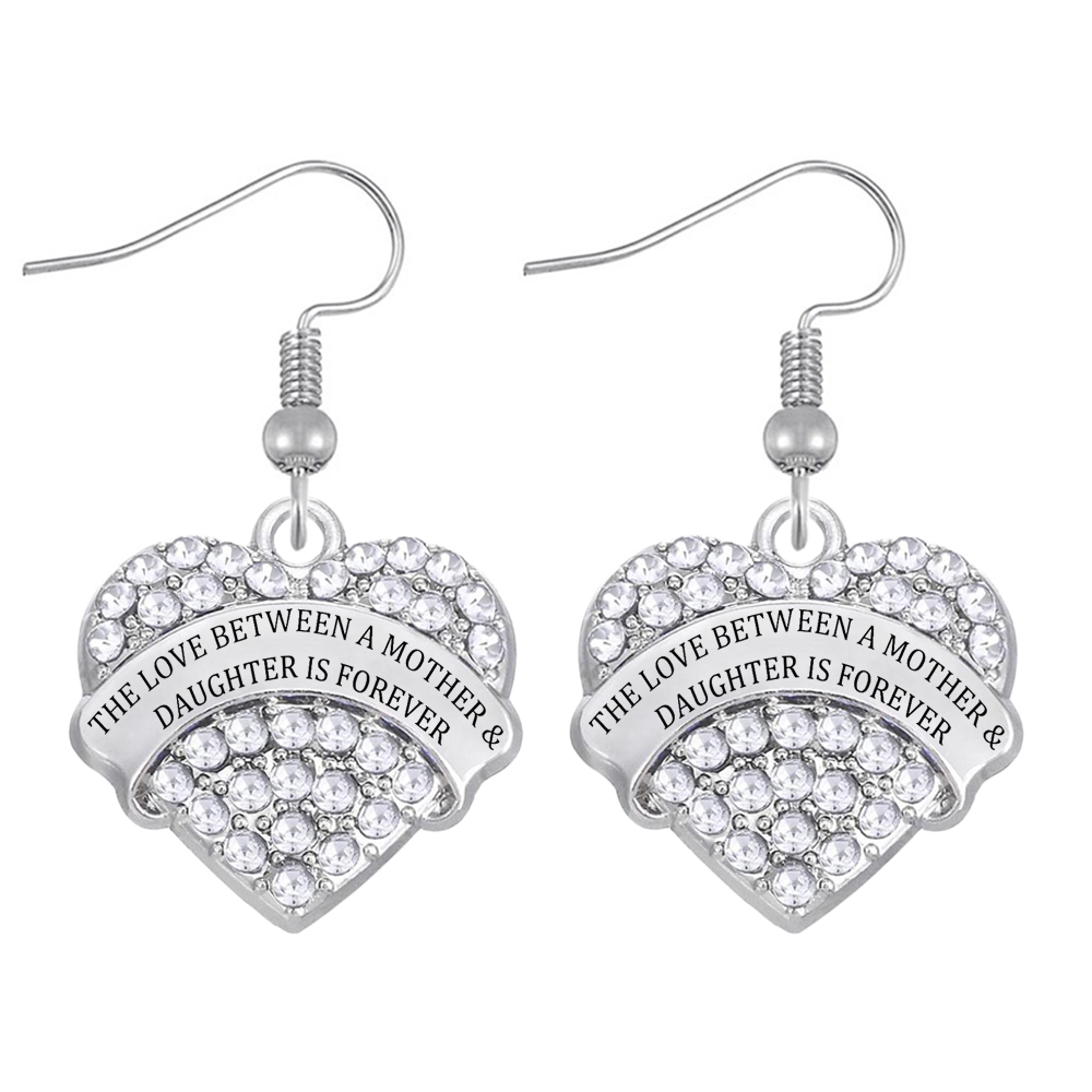 Popular Family Jewellery Earrings THE LOVE BETWEEN A MOTHER & DAUGHTER IS FOREVER message label Heart Crystal Pendant eardrop