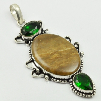 Jaspers & Green Quarts Pendant Silver Overlay over Copper , 80 mm, P2440