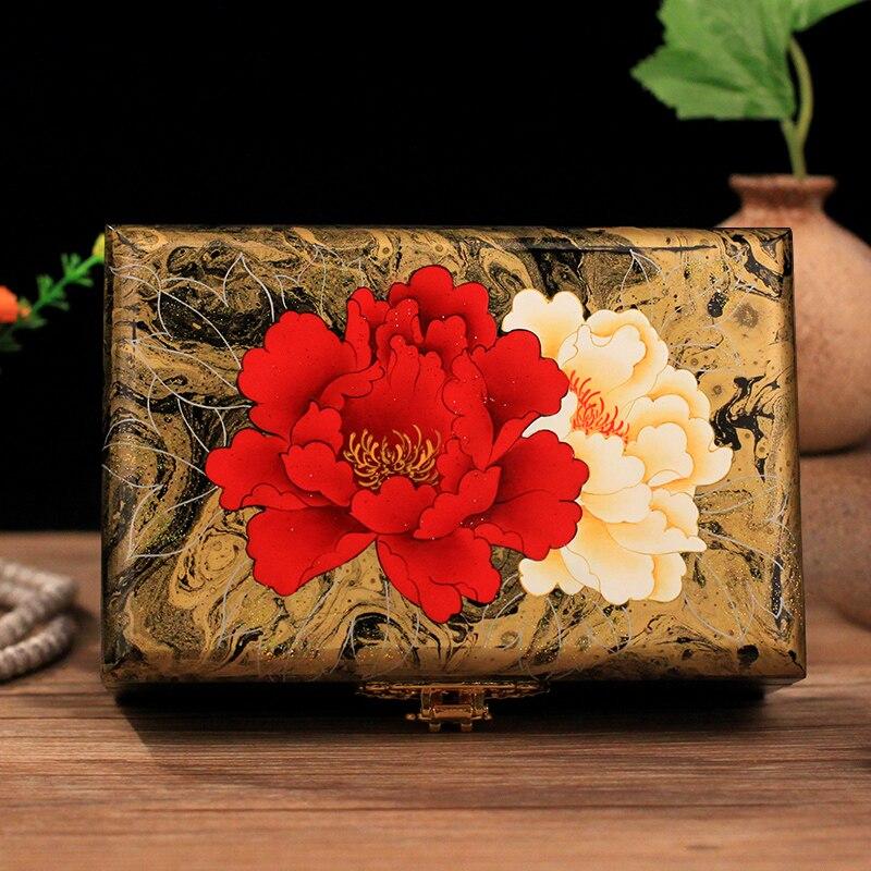 Boîtes à bijoux en bois peint à la main cadeau de mariage verrouillé stockage en bois massif boîtes à cadeaux de mariage bijoux boucles d'oreilles collier Bracelet