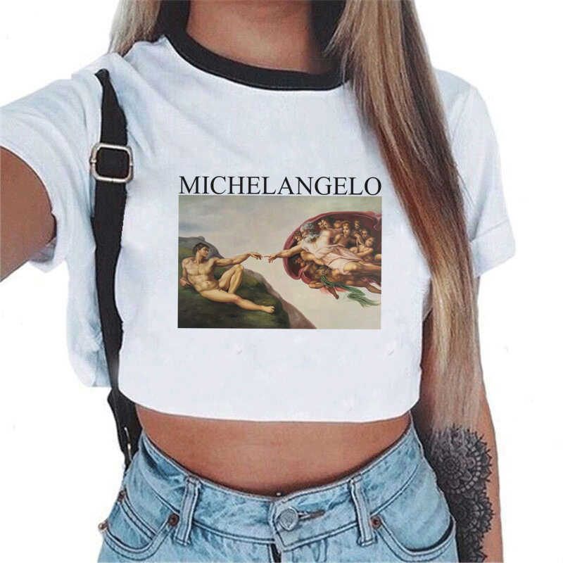 Korean Fashion Sexy Crop Top T-shirt Frauen Vintage Van Gogh Graphic Tees Michelangelo Engel Hemd Streu Kinder Druck Weibliche T-shirt