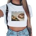 Korean Fashion Sexy Crop Top T-shirt Frauen Vintage Van Gogh Graphic Tees Michelangelo Engel Hemd Streu Kinder Druck Weibliche T-shirt