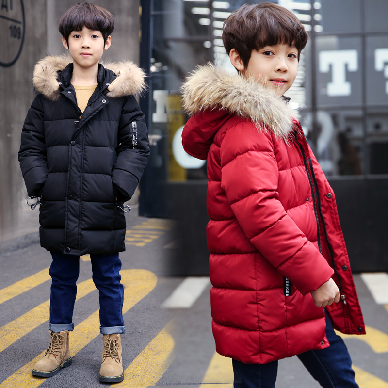 FYH Winter Kids Clothing Boys Jackets Fur Collar Kids Warm Parka Children's Thick Outerwear Coat Kids Down Jacket Cotton Padded new men jackets winter cotton padded jacket men s casual zipper warm parka fashion stand collar thicken print outerwear coat