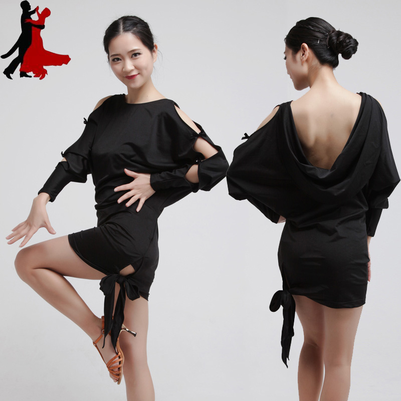 Sexy Deep V halter hollow sleeve bow tie Latin dance performance clothing dress women freeshipping hot sale