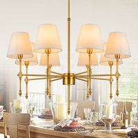 American style rural chandelier electroplating gold copper lamp antique copper light livingroom restaurant lamp field Chandelier