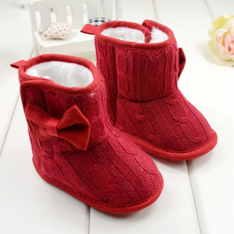 Baby Girl Knit Bowknot Faux Fleece Snow Boot Soft Sole Kids Wool Baby Shoes