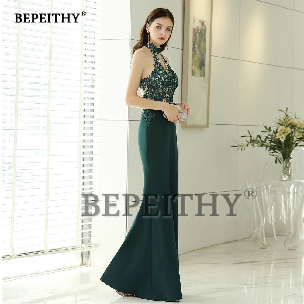Sexy Cross Back Mermaid Long Prom Dress Party Gown 2019 Vestido De Festa  Halter Green Evening Dresses Fashion -in Prom Dresses from Weddings    Events on ... 6a25dcc17ec2