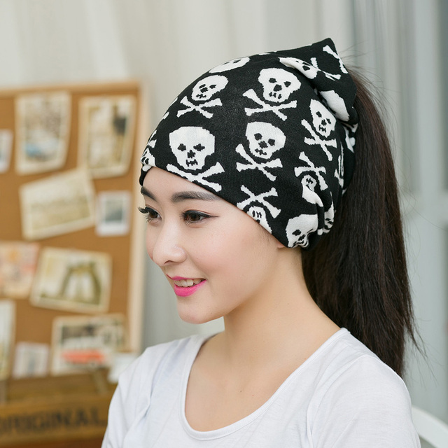 New Hot Sale Women Spring Autumn Lady Hat Women Cool Bonnet Turban Trendy  Casual Skull Pattern Hat 3 Ways to Wear Beanies 934714be9ee
