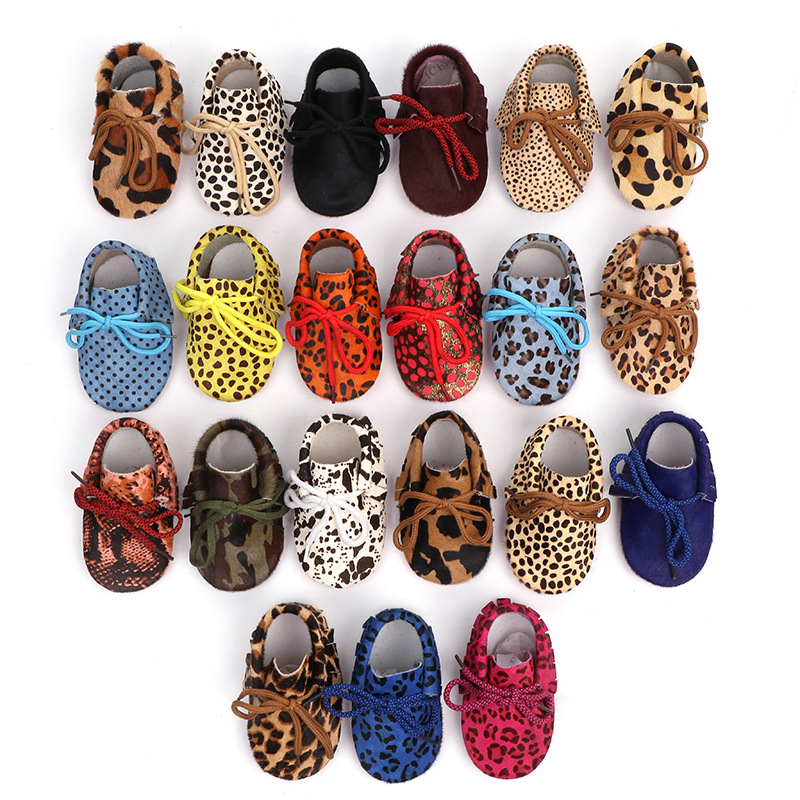 New Arrival Genuine Leather Baby Boys Moccasins Shoes Soft Moccs Crib Babe Leopard Horsehair Sneakers For Newborn Kids Girl 0-2T