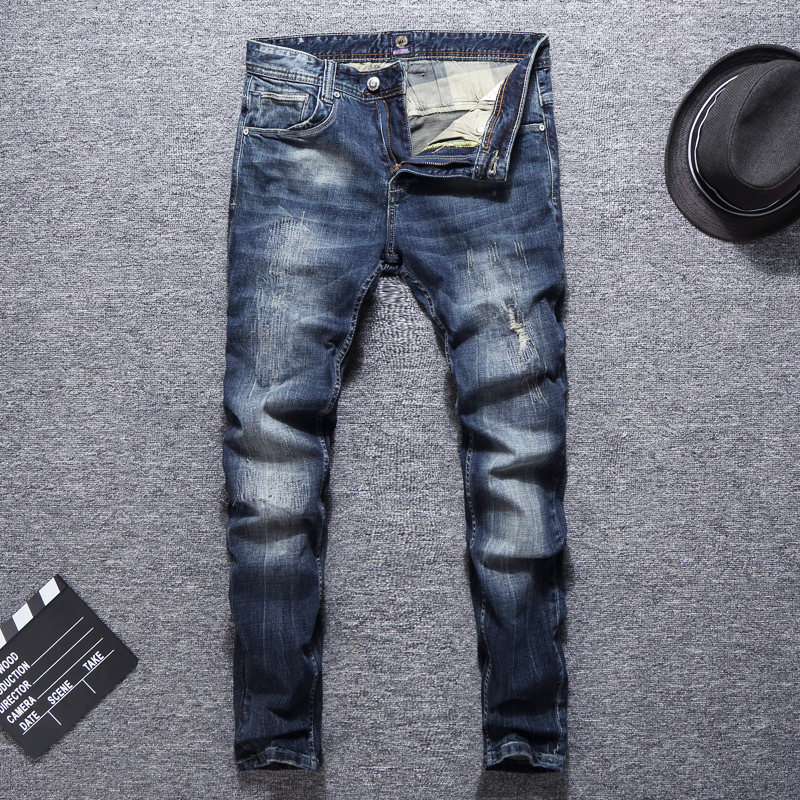 Italian Vintage Style Fashion Men Jeans Retro Blue Wash Slim Fit Ripped Jeans Men Patch Designer Streetwear Hip Hop Jeans Men