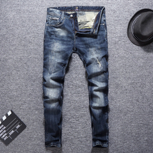 Italian Vintage Style Fashion Men Jeans Retro Blue Wash Slim Fit Ripped Patch Designer Streetwear Hip Hop