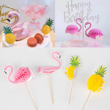 AVEBIEN4pcs Flamingo Pineapple Cake Topper Dessert Decoration for Wedding Birthday Party Cake Topper Pastry Cake Insertion Decor lovely sika deer cake topper cake decoration party wedding dessert decoration home decor miniature terrarium figurines ornaments