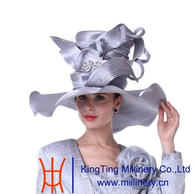 Kueeni Women Church Hats For Wedding Mother Of Bride Silver Color Fashion Hat Match Suits