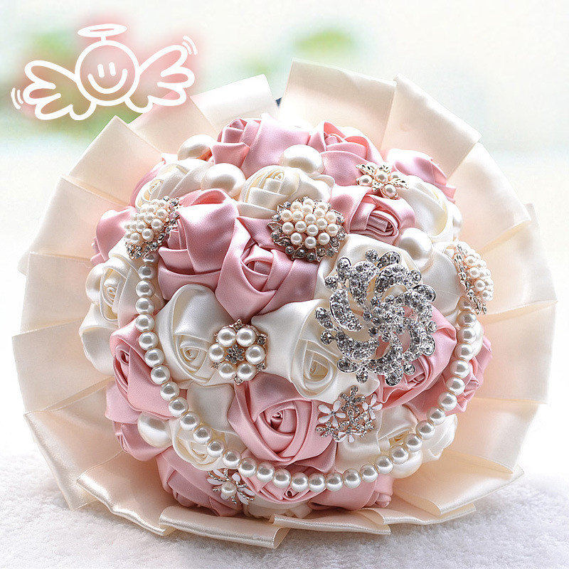 Gorgeous Beaded Crystal Wedding Bouquet Artificial Sapphire Ivory Rose Bridesmaid Flower Pearl Bridal Bouquets D198