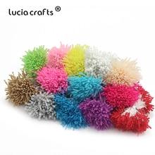 Lucia crafts, 144 шт, 3 мм, Двойные наконечники, стеклянные цветы, тычинки для свадебного украшения, сделай сам, скрапбукинг, венок, поддельные, pist C1204