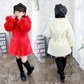 Meninas de inverno Casacos De Pele Com Capuz Casacos de Moda Quente Da Menina do Algodão Do Bebê Outerwear Criança Encabeça Blusão Vestidos Infantil Sólida Dustc