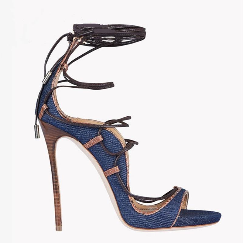 Enmayla 2018 À Sandalias Size34 Décontracté Croix Chaussures Femmes Zyl2214 Unies sangle Denim 43 Mujer Lacets Blue PxarzqPn