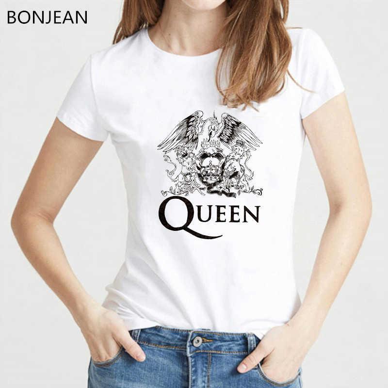 W stylu vintage Freddie Mercury t shirt kobiety odzież 2019 królowa koszulka zespołu femme Hip Hop Retro Rock Hipster tshirt kobiet topy
