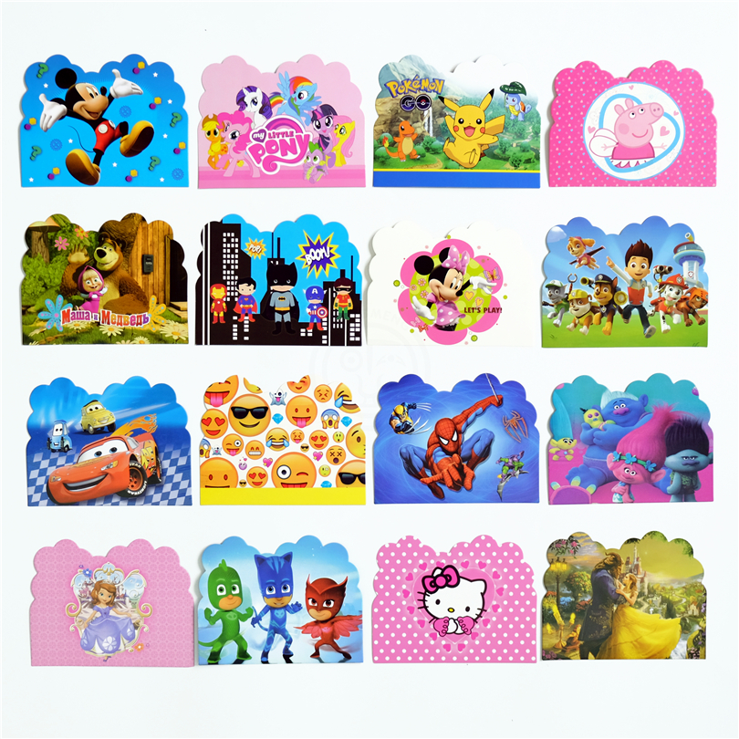 10pcs/lot Invitation Card Trolls Pokemon Go Mickey Emoji Minnie Kids Birthday party supply event party supplies party Decoration