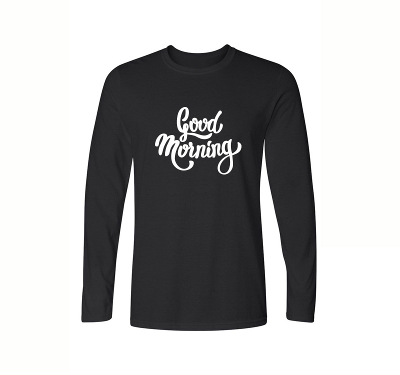 Good Morning Print Cotton T-Shirts For Men 2017 Spring Autumn Long Sleeve O-Neck Tops Tees Brand Clothing Homme