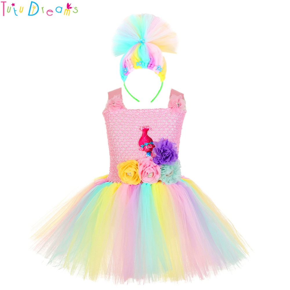 Poppy Trolls Birthday Tutu Outfit 4th Pink Purple Girl Sequin Headband Rainbow
